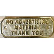 NO ADVERTISING MATERIAL THANK YOU