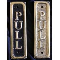 PULL - brass sign